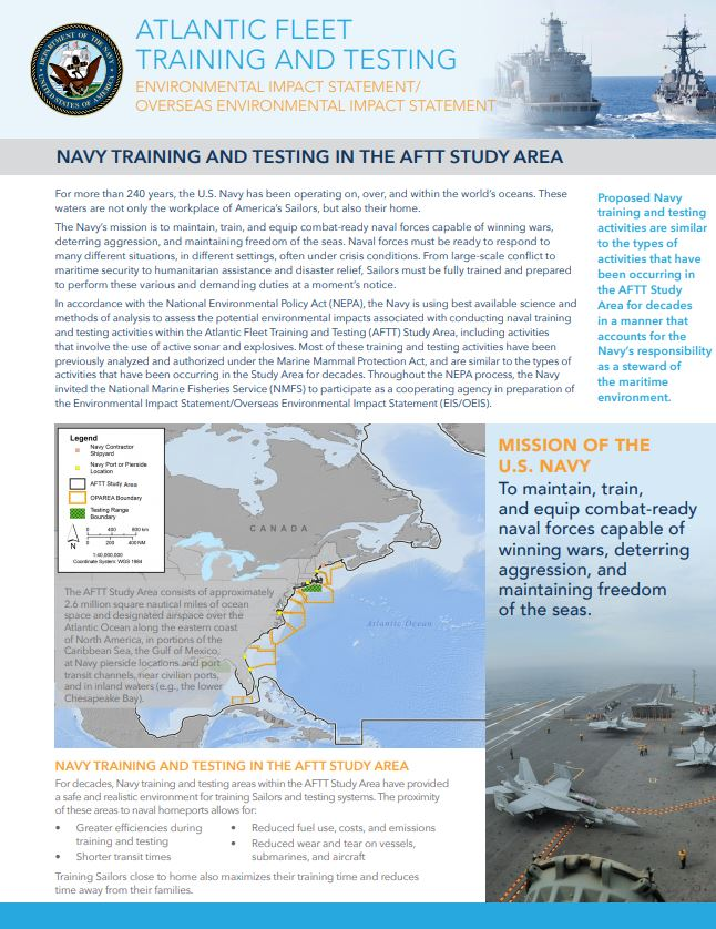 U.S. Navy training and testing in the AFTT Study Area
